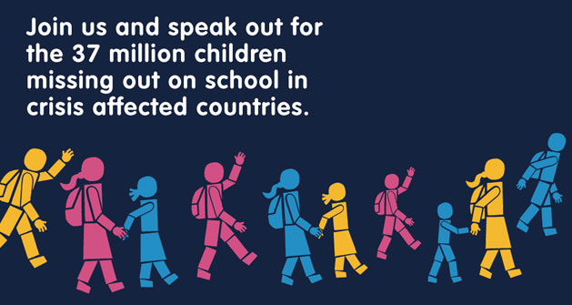 The numbers affected by emergencies is at an all-time high; worldwide more children than ever before are having to flee their homes and schools. Join us and help them to claim the education that is their right.